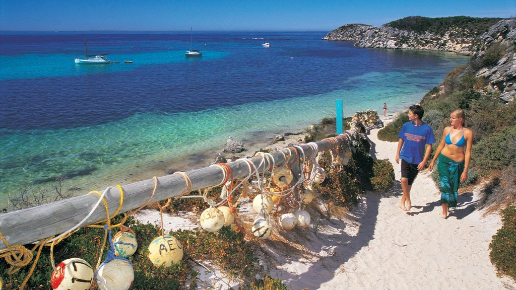 Rottnest Island showing tropical scenes, a bay or harbor and a sandy beach