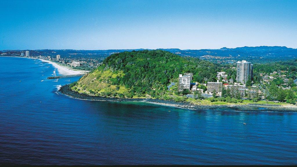Burleigh Beach which includes tropical scenes, general coastal views and a coastal town