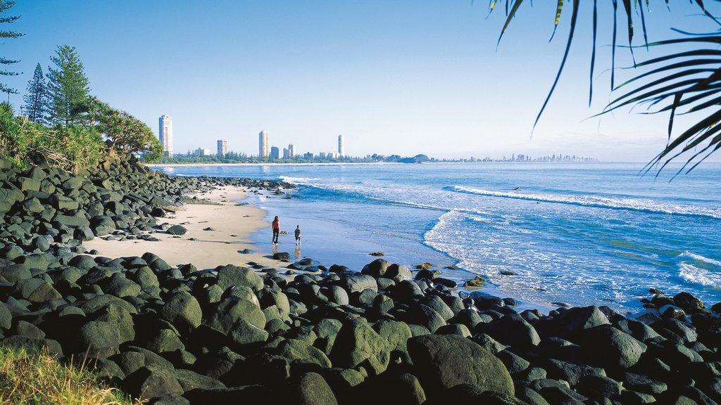 Burleigh Beach which includes island views, general coastal views and rugged coastline