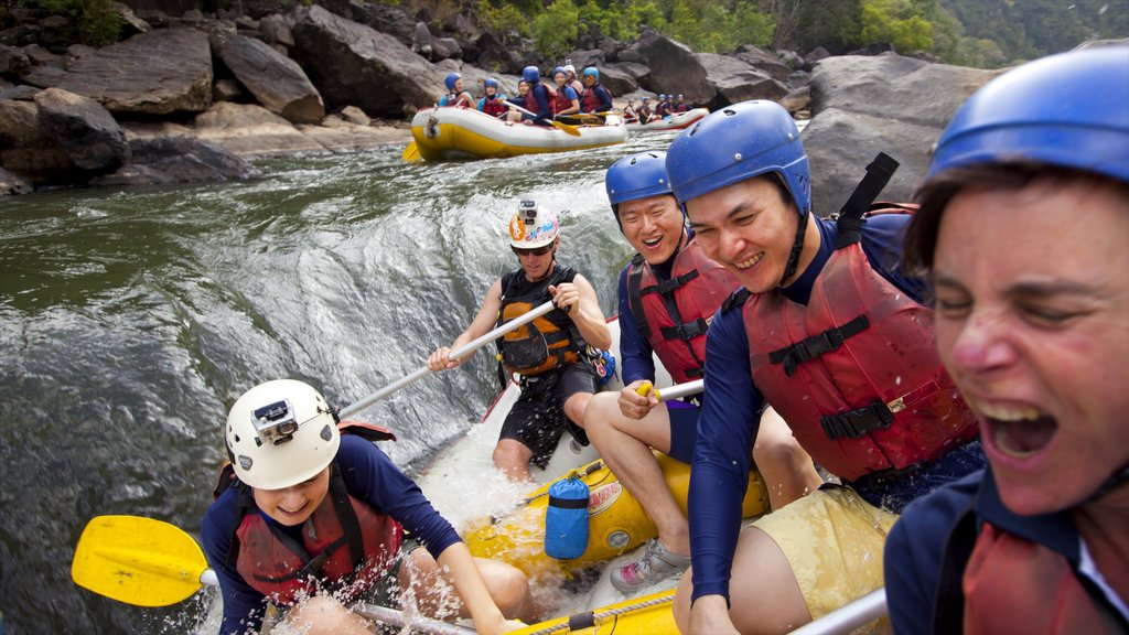 Barron Gorge National Park showing rapids and rafting as well as a small group of people