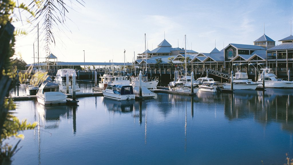 Port Douglas showing a marina and a coastal town