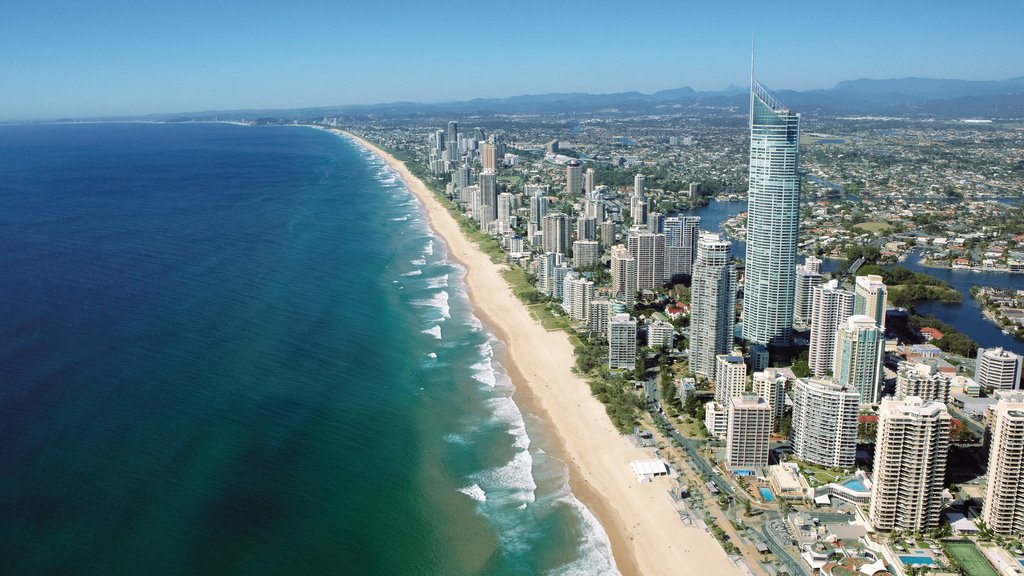 Surfers Paradise Beach which includes skyline, general coastal views and central business district