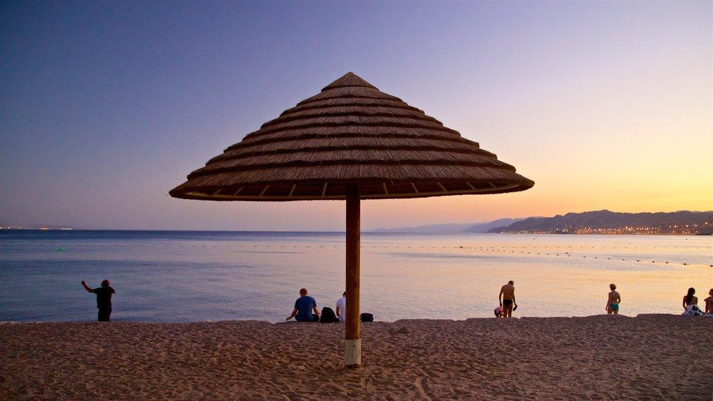 Eilat featuring landscape views, a sunset and a sandy beach
