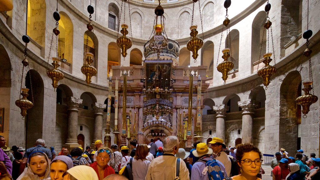 Church of the Holy Sepulchre which includes interior views and heritage elements as well as a large group of people