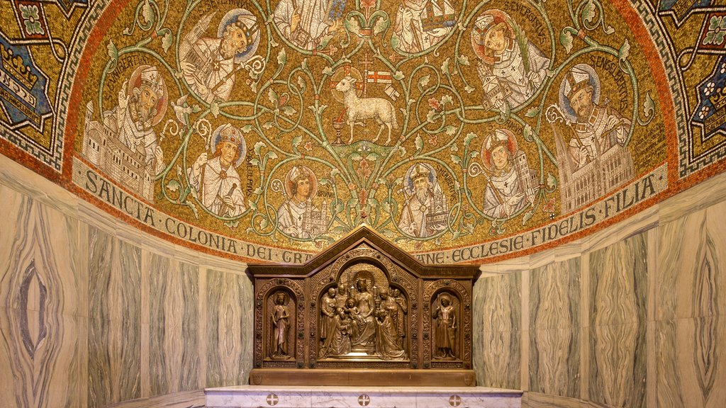 Dormition Abbey showing religious aspects, interior views and heritage elements