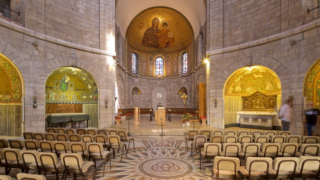 Dormition Abbey showing a church or cathedral, interior views and heritage elements