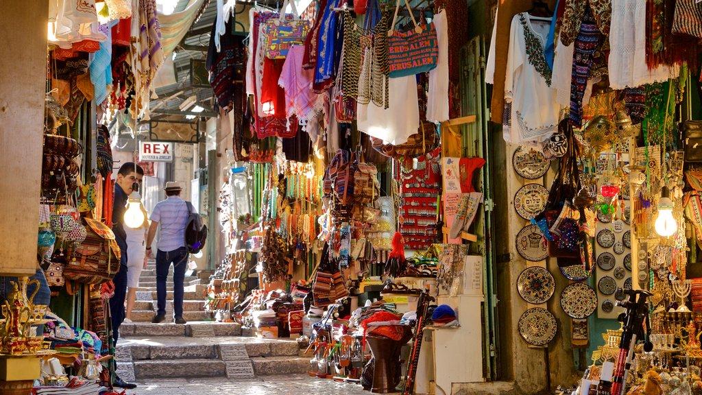 Mahane Yehuda Market which includes markets and interior views