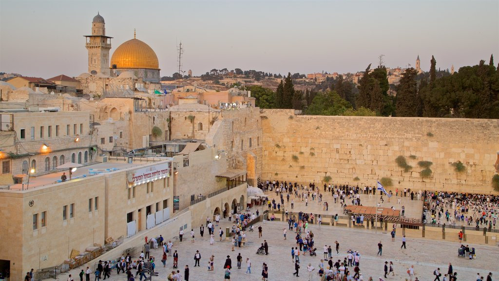 Western Wall which includes a city, landscape views and a square or plaza