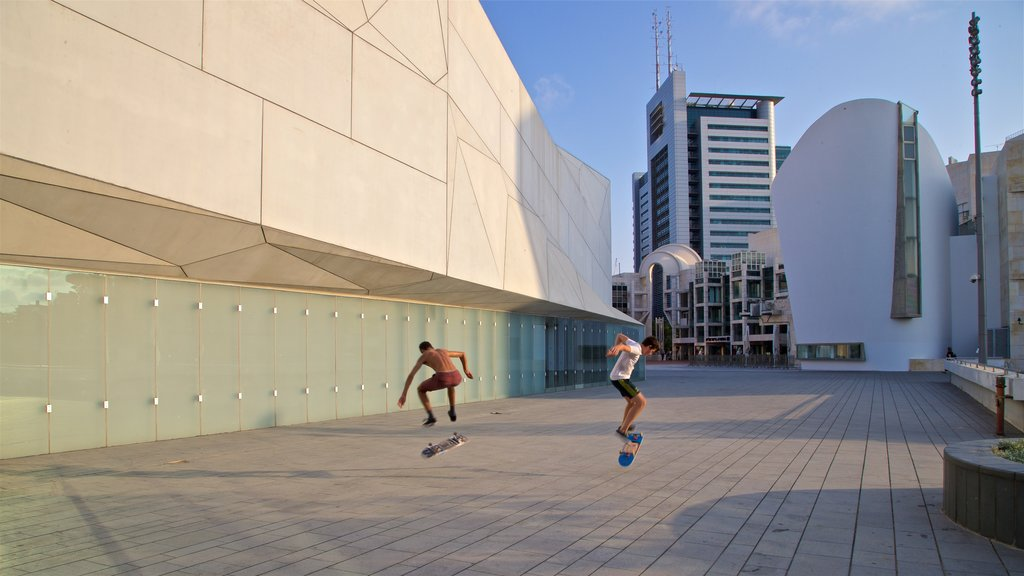 Tel Aviv Museum of Art showing a city as well as a small group of people