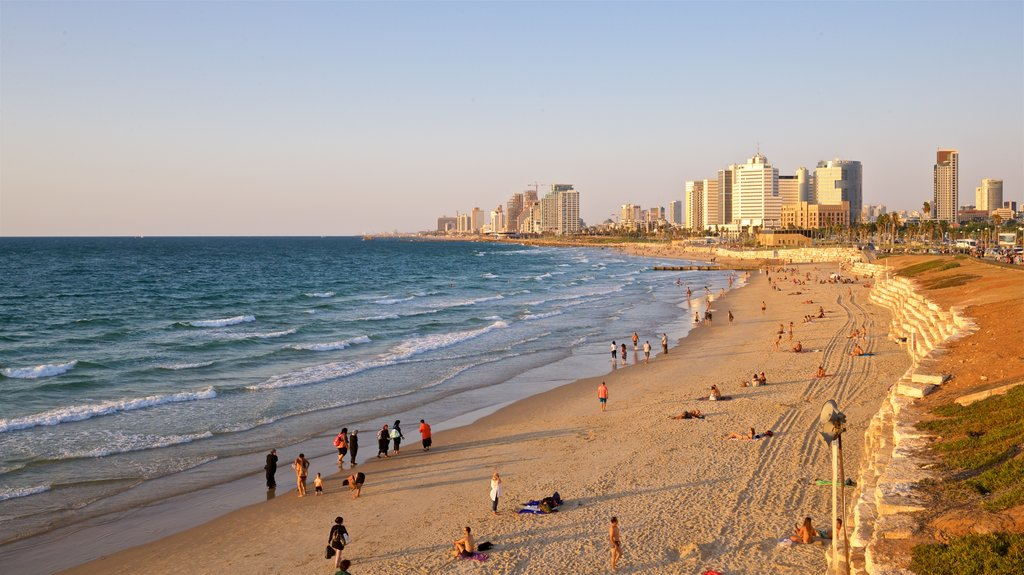 Jaffa which includes a sunset, general coastal views and a coastal town