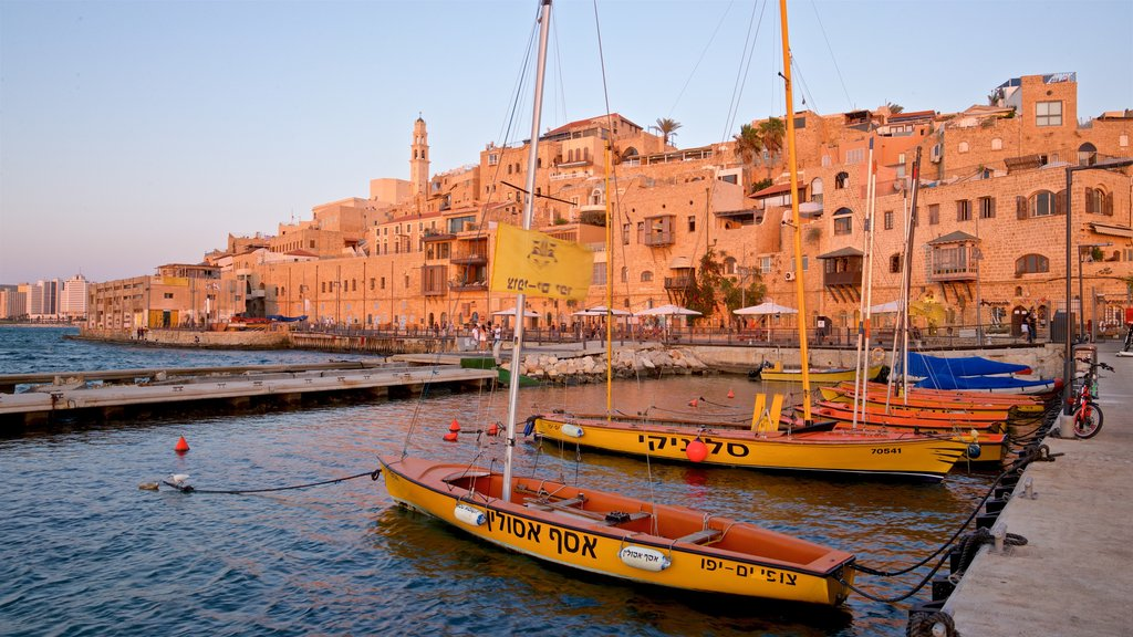 Jaffa Port featuring a bay or harbor and a sunset