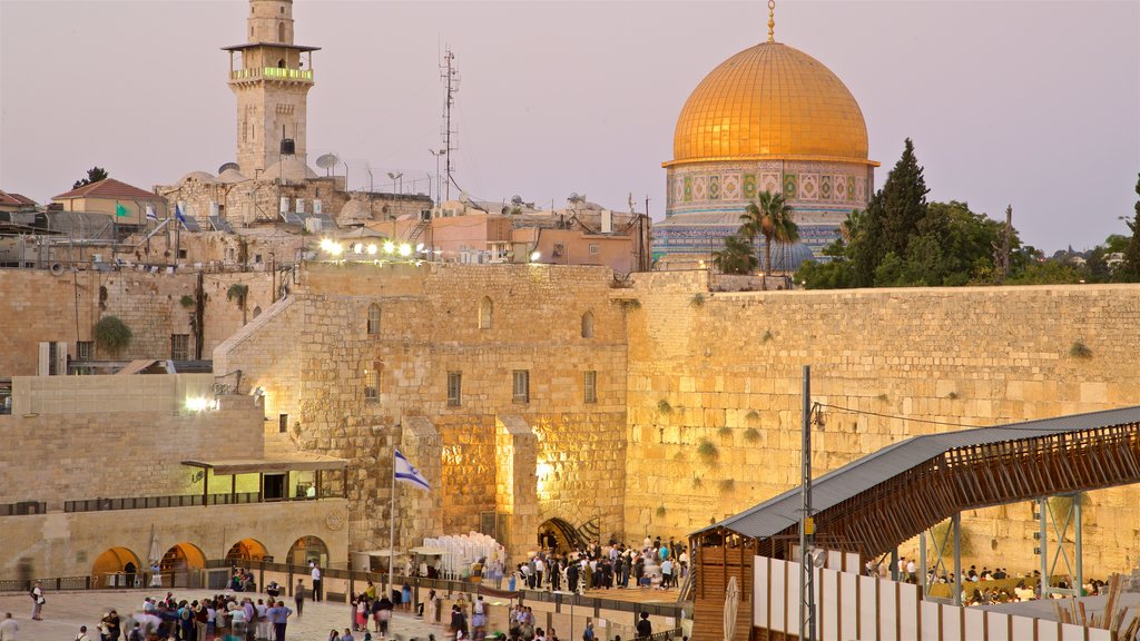 Western Wall showing heritage elements, a city and landscape views