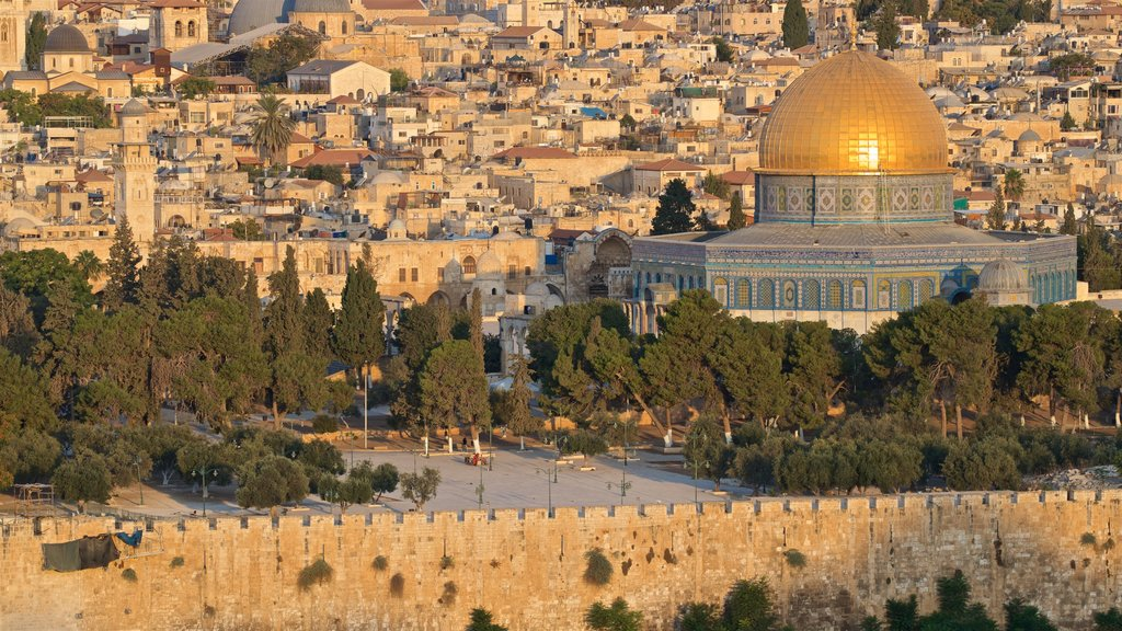 Temple Mount showing a city, landscape views and heritage architecture