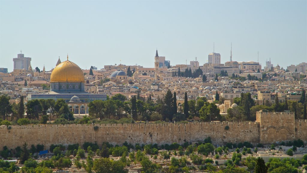 Temple Mount showing heritage architecture, landscape views and a city