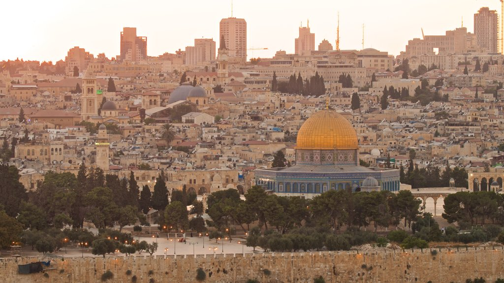 Temple Mount featuring a city, heritage architecture and landscape views