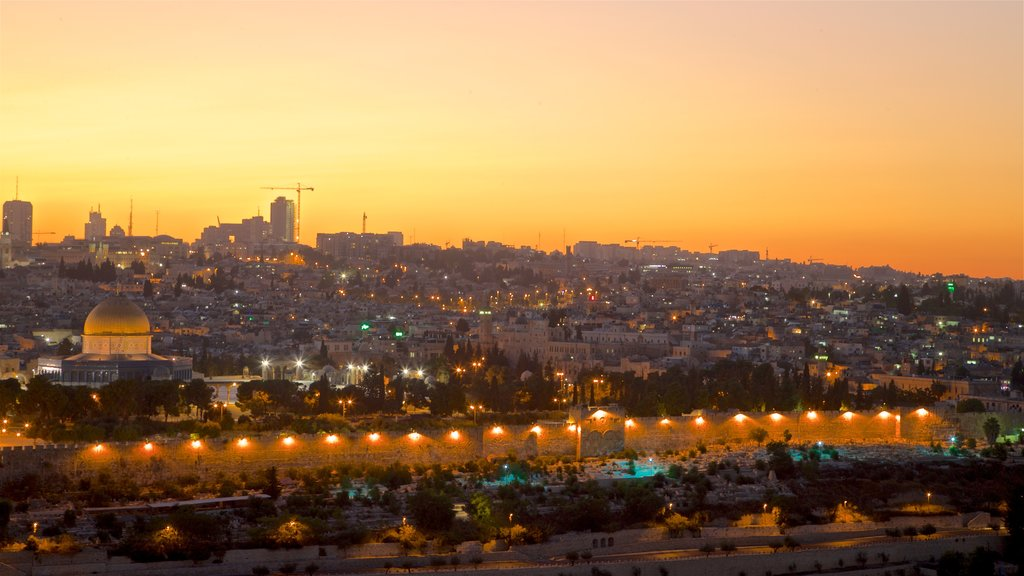 Temple Mount featuring landscape views, a sunset and a city