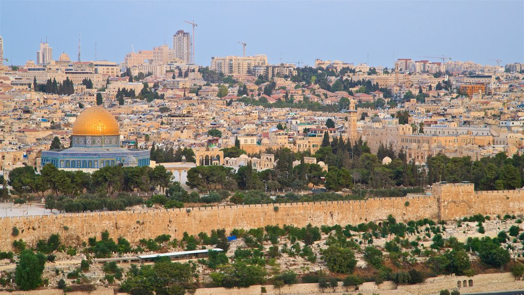 Temple Mount featuring landscape views, heritage architecture and a city
