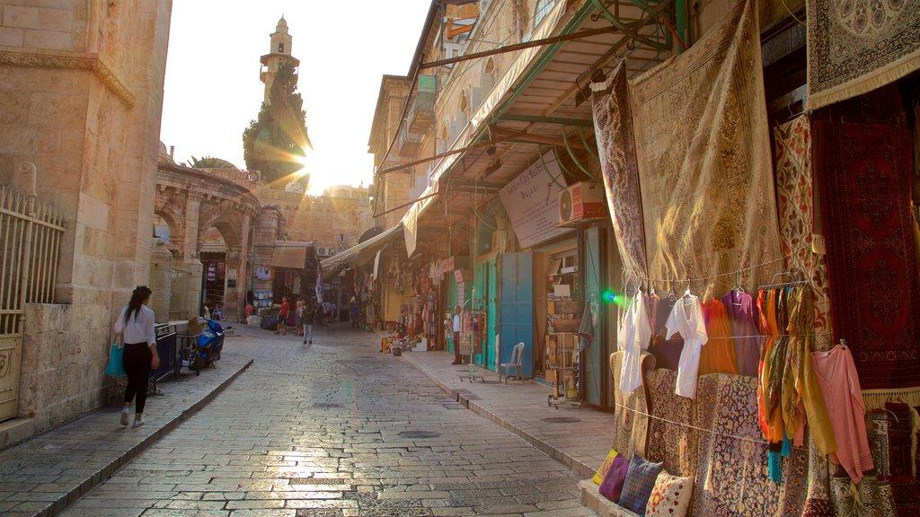 Mahane Yehuda Market featuring a sunset and markets