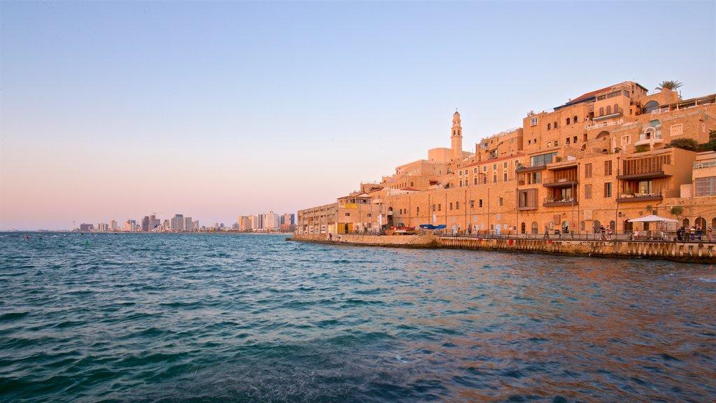 Jaffa Port featuring a sunset, general coastal views and a coastal town