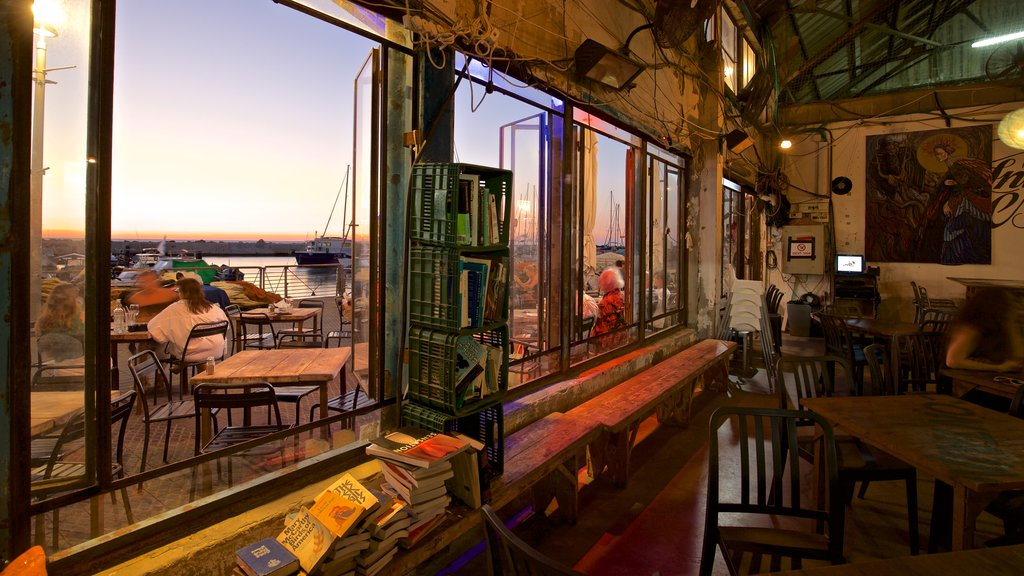 Jaffa Port featuring a sunset, interior views and dining out