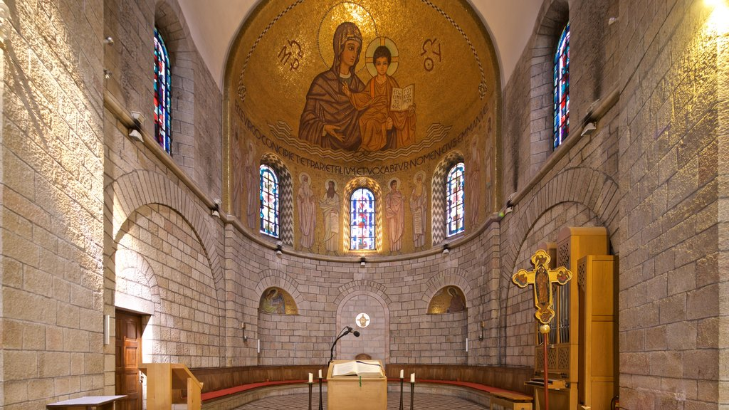 Dormition Abbey which includes art, interior views and a church or cathedral
