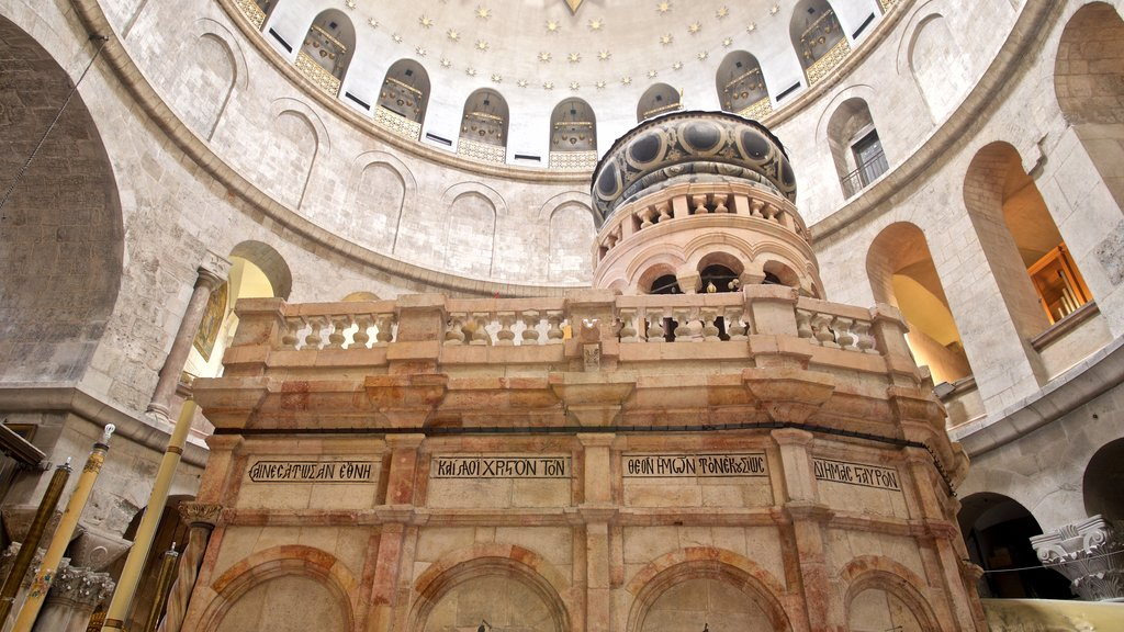 Church of the Holy Sepulchre which includes interior views, heritage elements and a church or cathedral
