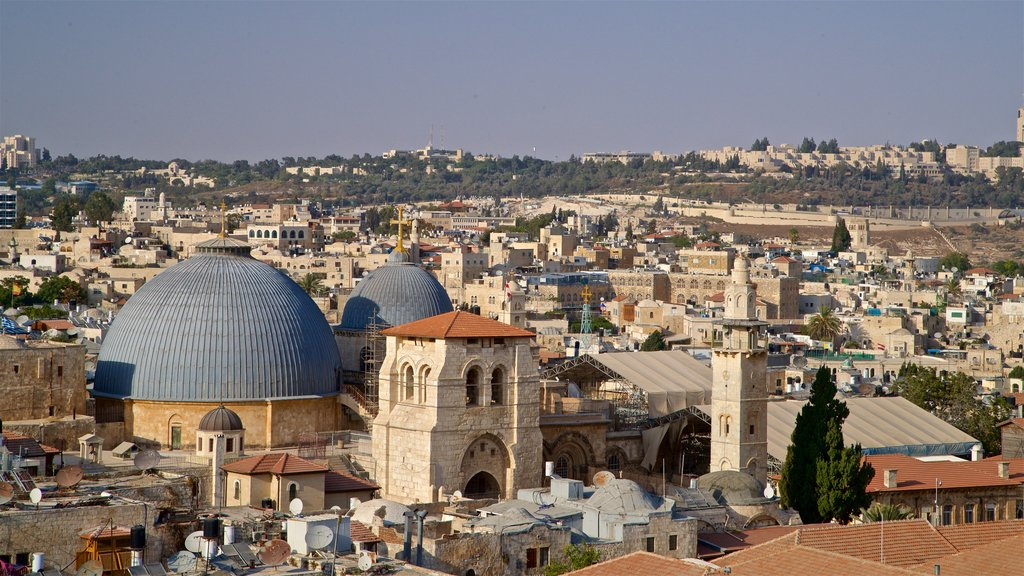 Church of the Holy Sepulchre showing landscape views and a city
