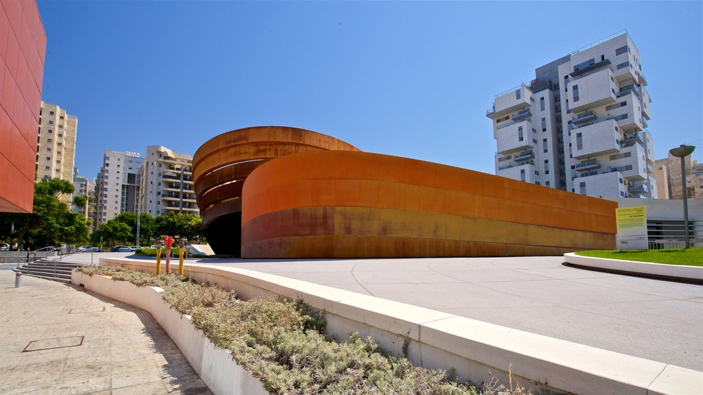 Design Museum Holon featuring a city and modern architecture