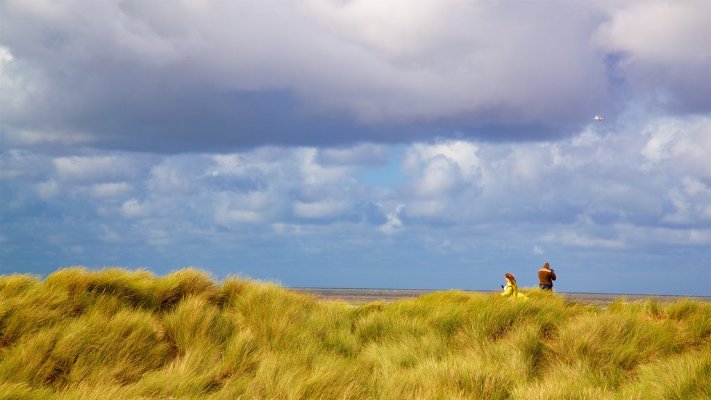 Ainsdale Beach featuring landscape views and tranquil scenes as well as a couple