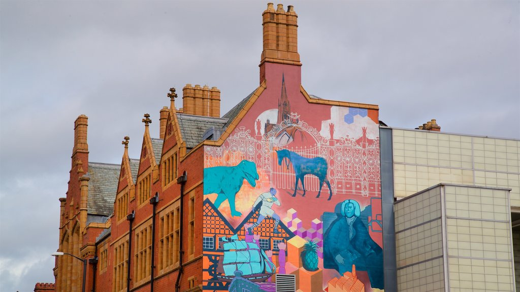 Warrington featuring heritage architecture and outdoor art