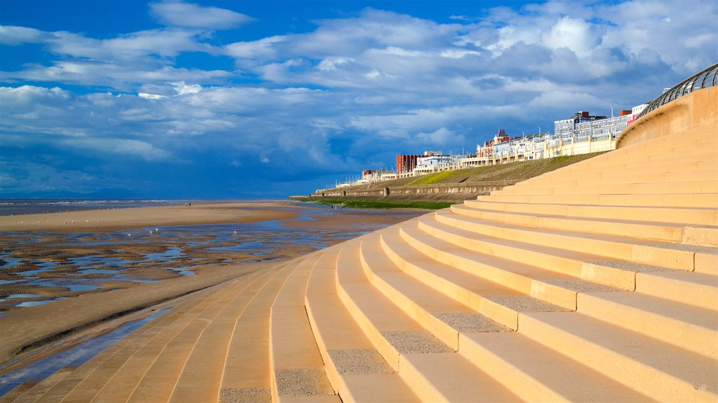 Blackpool North Shore Beach showing a sandy beach, general coastal views and a coastal town