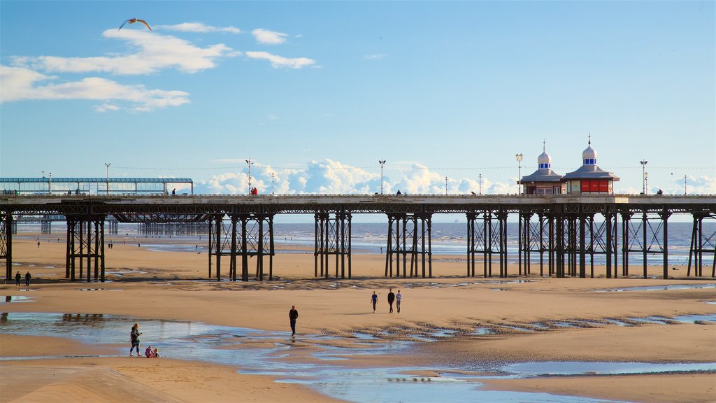 North Pier which includes general coastal views and a sandy beach as well as a small group of people