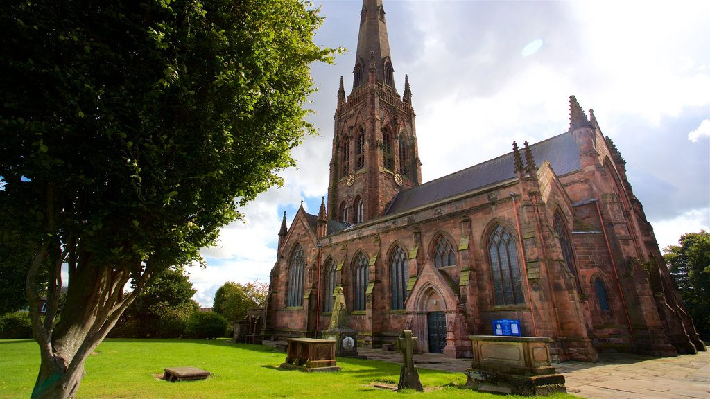 Warrington Parish Church featuring a church or cathedral and heritage architecture