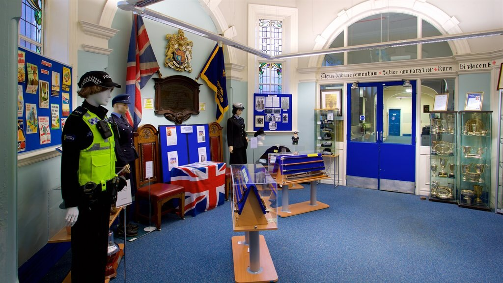 Museum of Policing in Cheshire featuring interior views