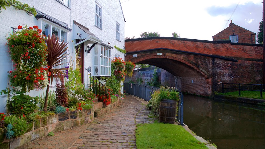 Lymm featuring wildflowers, a bridge and flowers
