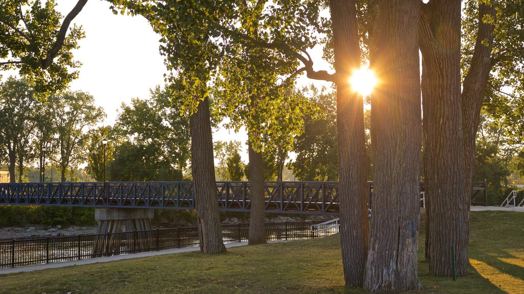 Mishawaka featuring a river or creek, a sunset and a park