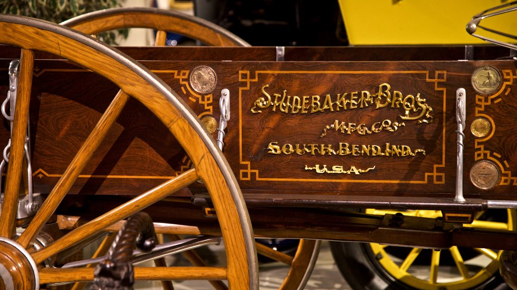 Studebaker National Museum featuring heritage elements, signage and interior views