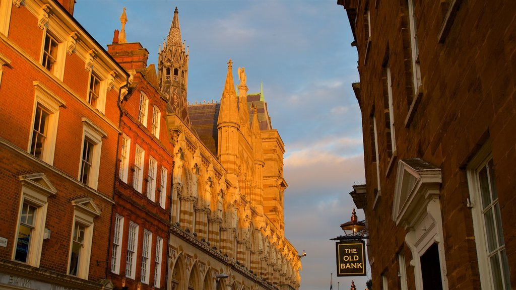 Northampton which includes heritage architecture and a sunset