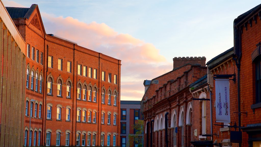 Northampton featuring a sunset and a city