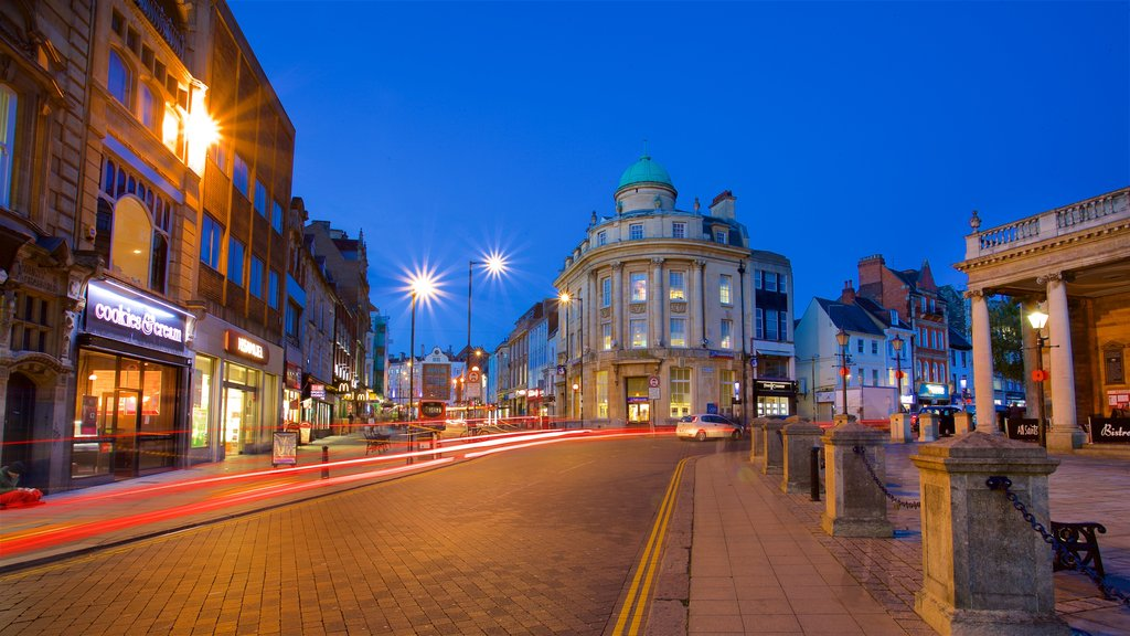 Northampton featuring a city, night scenes and heritage architecture