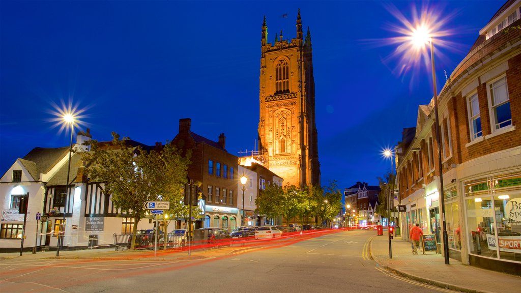 Derby Cathedral showing heritage architecture and night scenes