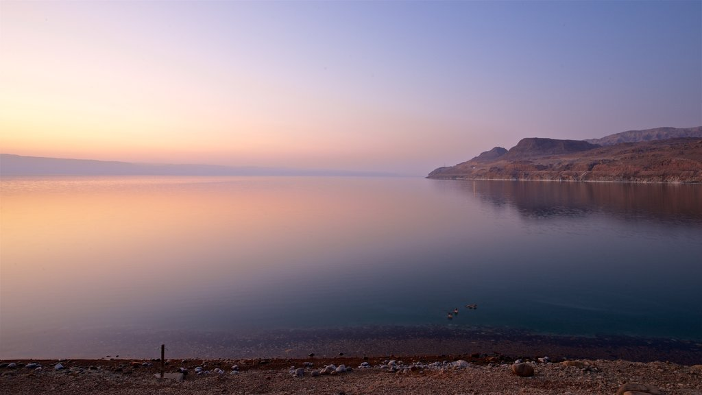 Mujib Nature Reserve showing general coastal views and a sunset