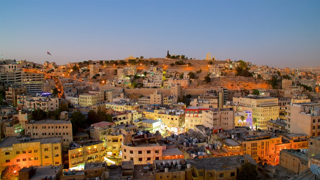 Amman which includes a city, night scenes and landscape views