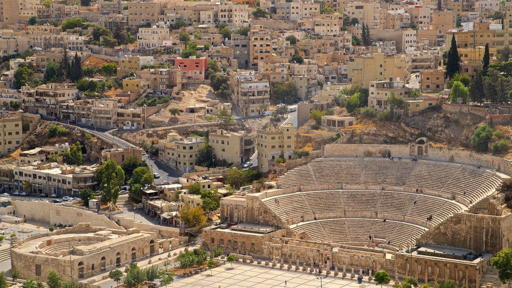 Amman Roman Theater showing landscape views, a city and heritage architecture
