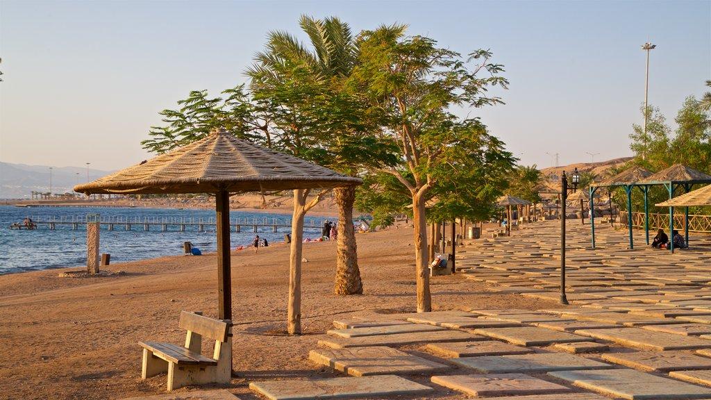 Aqaba showing a beach and general coastal views