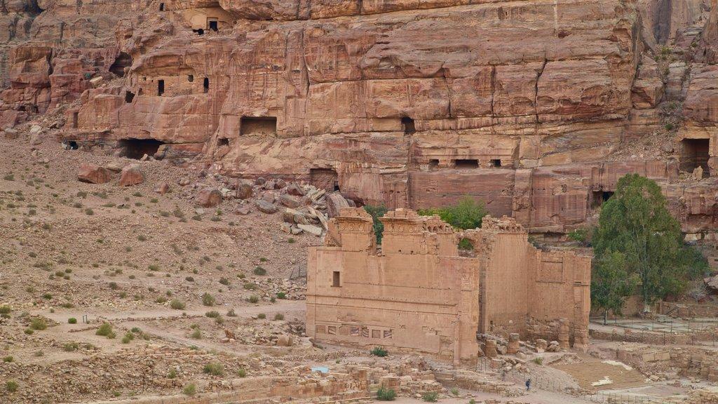 Petra ofreciendo una ruina, un barranco o cañón y elementos del patrimonio