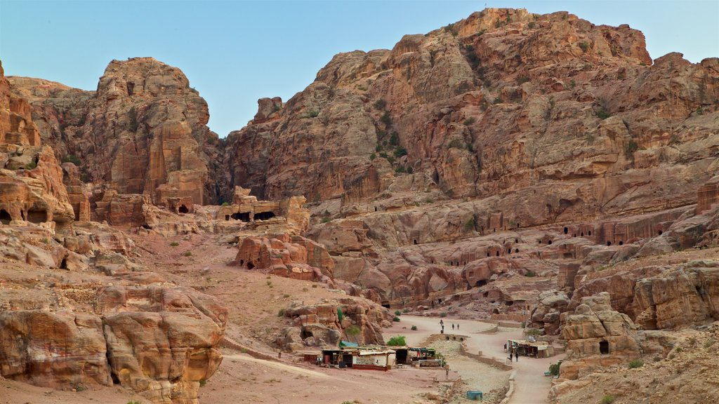 Petra featuring a gorge or canyon, landscape views and building ruins