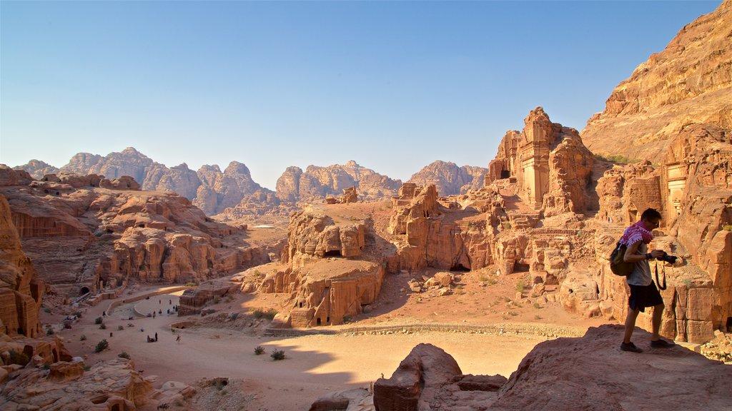 Petra que incluye una ruina, vistas de paisajes y un barranco o cañón