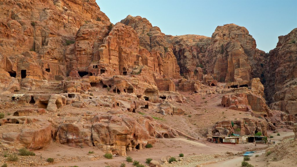 Wadi Musa showing landscape views, a gorge or canyon and building ruins
