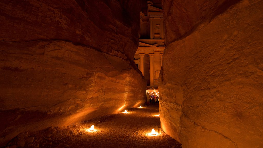Wadi Musa featuring a gorge or canyon and night scenes